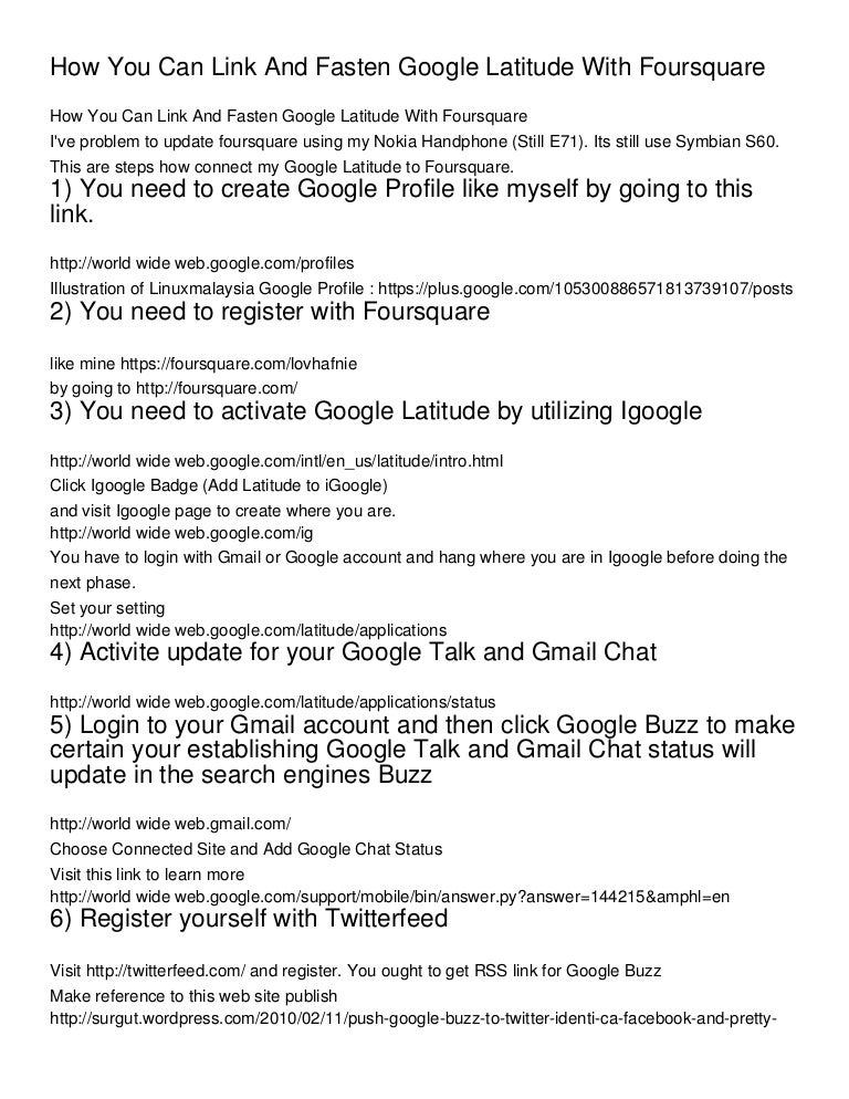 How You Can Link And Fasten Google Latitude With Foursquare_