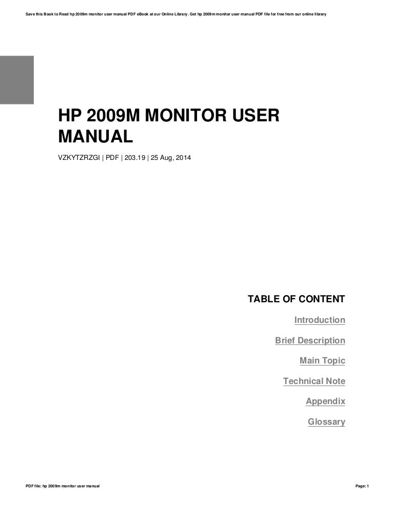 Hp 2009m monitor user manual