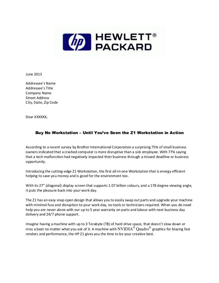 Hp Direct Mail Letter