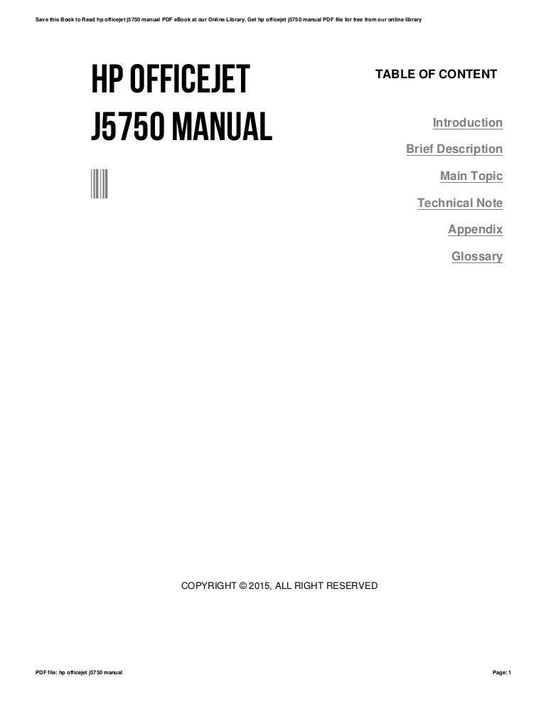 Hp officejet j5750 manual