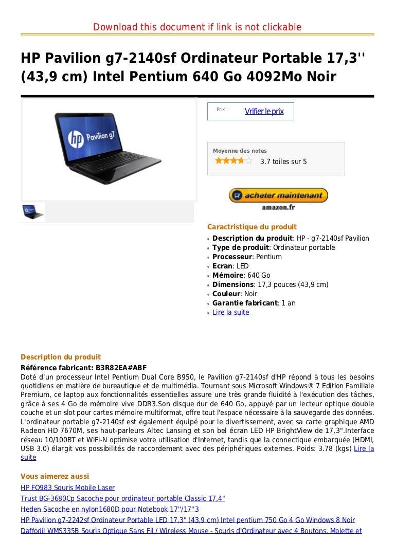 90ee2222df Hp pavilion g7 2140sf ordinateur portable 17,3'' (43,9 cm) intel pent…