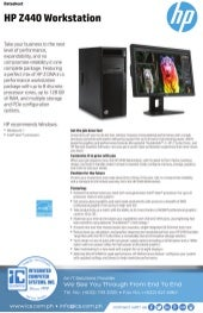 Data Sheet - HP Z640 Workstation