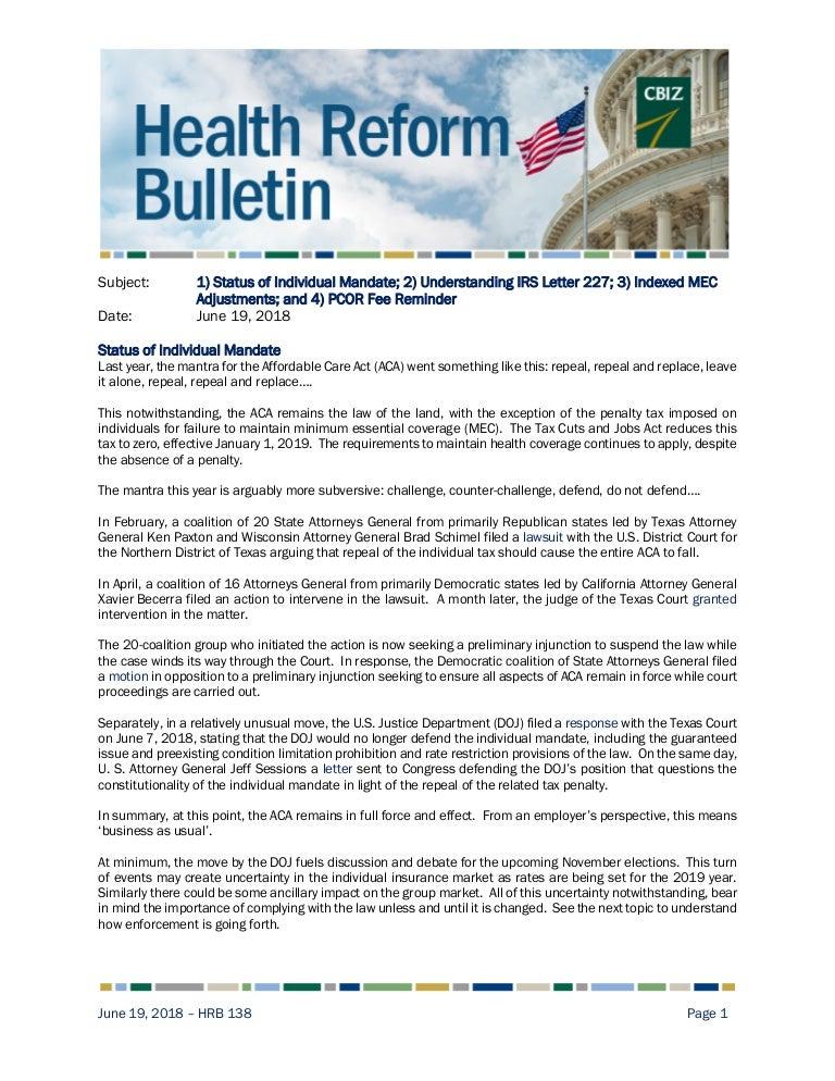 Health Reform Bulletin 138 | Status of Individual Mandate