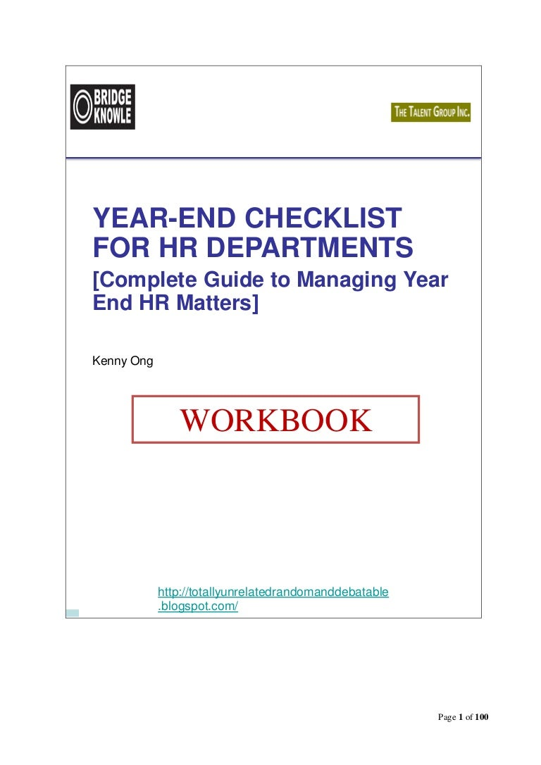 Bridgeknowle Year End Checklist For Hr  Companion Workbook