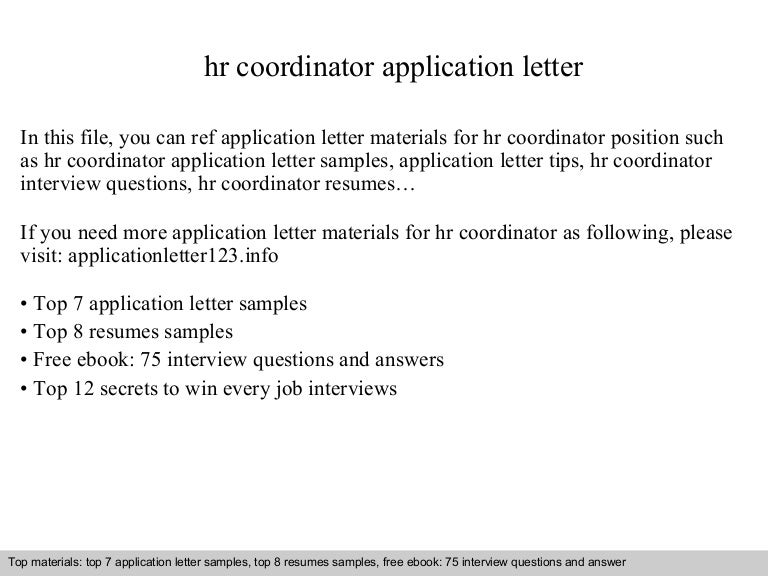 Hr Coordinator Application Letter