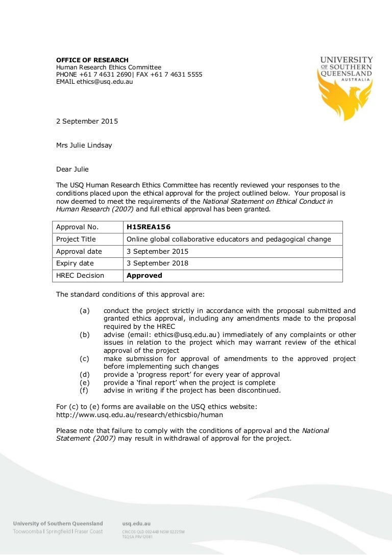 Human Research Ethics Committee Approval Letter 030915