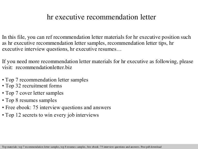 hr executive recommendation letter