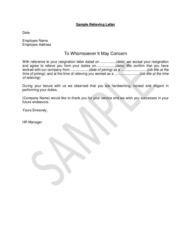 hr guide sample relieving letter