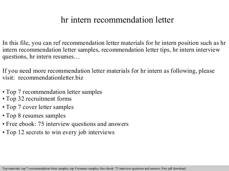 Hr Intern Recommendation Letter