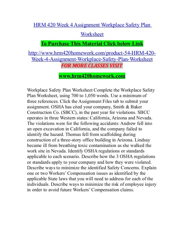 HRM 420 Week 4 Assignment Workplace Safety Plan Worksheet