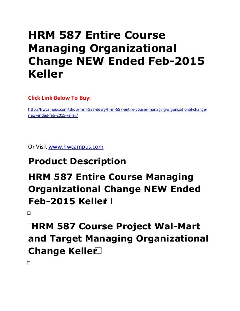 hrm entire course managing organizational change new ended feb