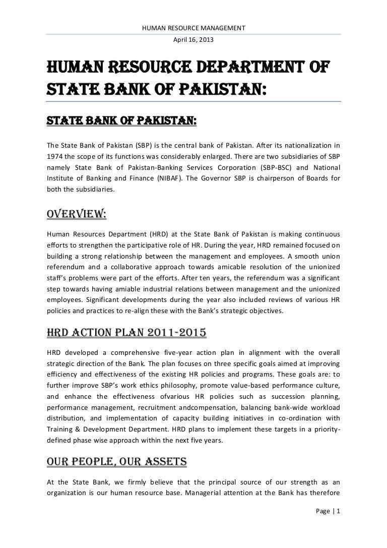 HUMAN RESOURCE DEPARTMENT OF STATE BANK OF PAKISTAN: