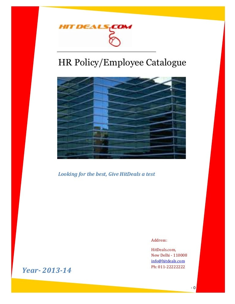 Hr Policy  Employee Catalogue  A Template For Your Company
