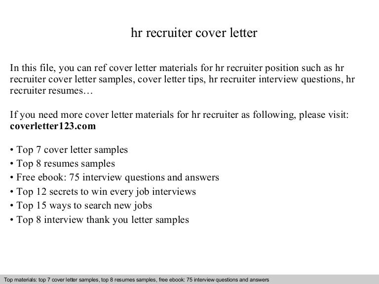 sample cover letter for recruiter position cover letter sample ...