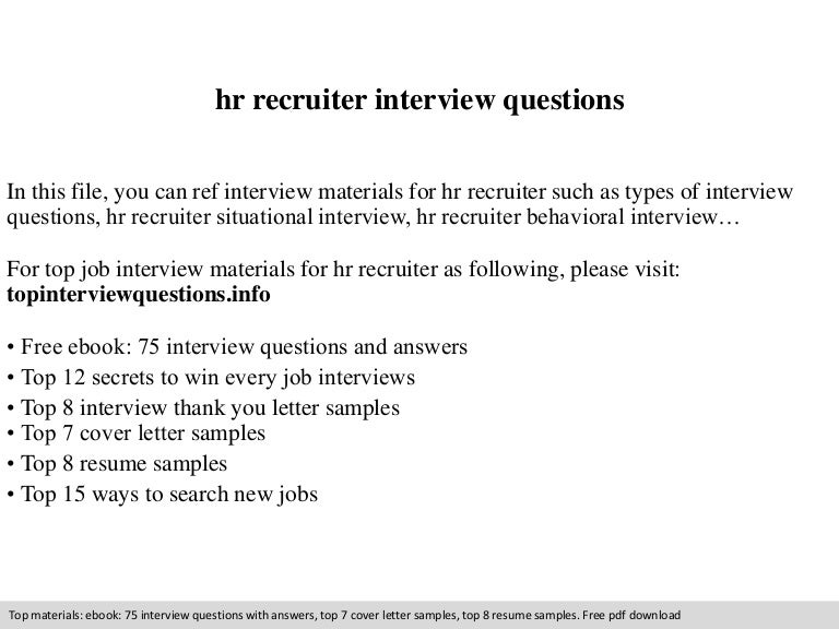 Hr recruiter interview questions