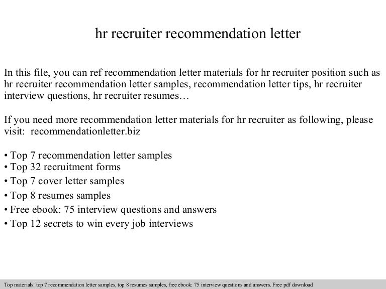 Hr Recruiter Recommendation Letter