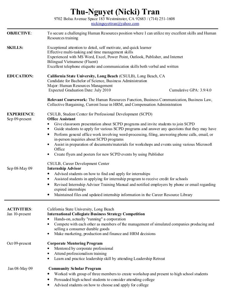 SlideShare  Relevant Coursework Resume