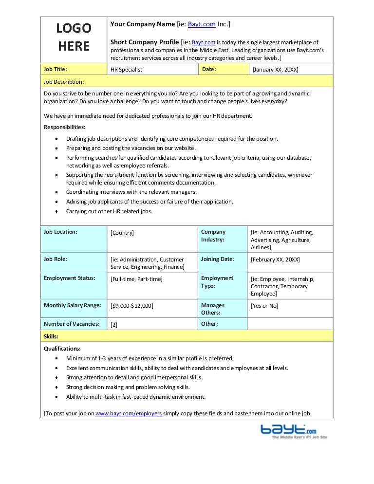 Hr Specialist Job Description Template By Bayt.Com