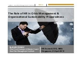 HR summit 2013 - Role of HR in Crisis Management & Organizational Sustainability