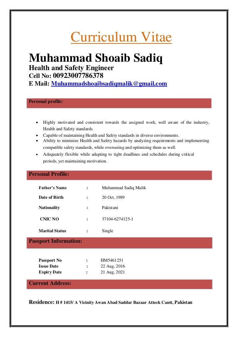 hse engineer cv of muhammad shoaib sadiq 2 rh slideshare net Procedure Manual Icon Policy Manual