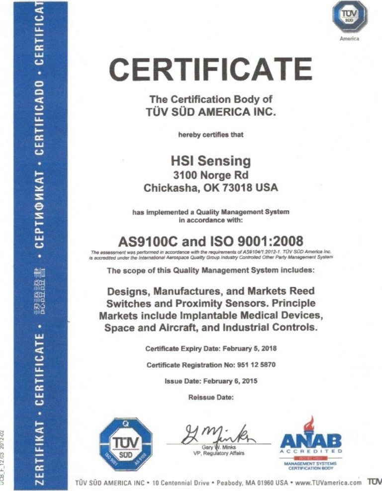 HSI Sensing Certification of TÜV SÜD AMERICA INC