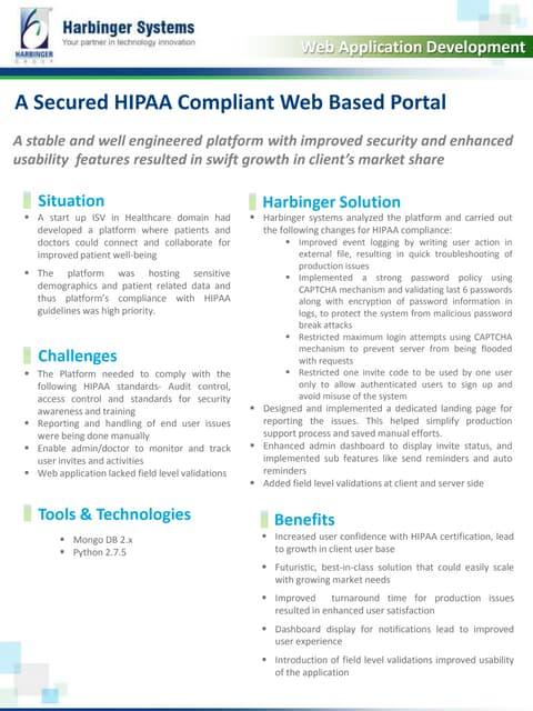 A Secured HIPAA Compliant Web Based Portal