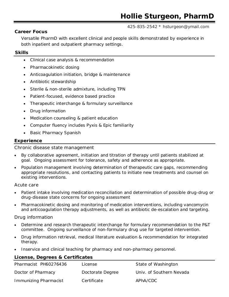 Sample Resume For Pharmacist Sample Resume 2017. 17 Best Images