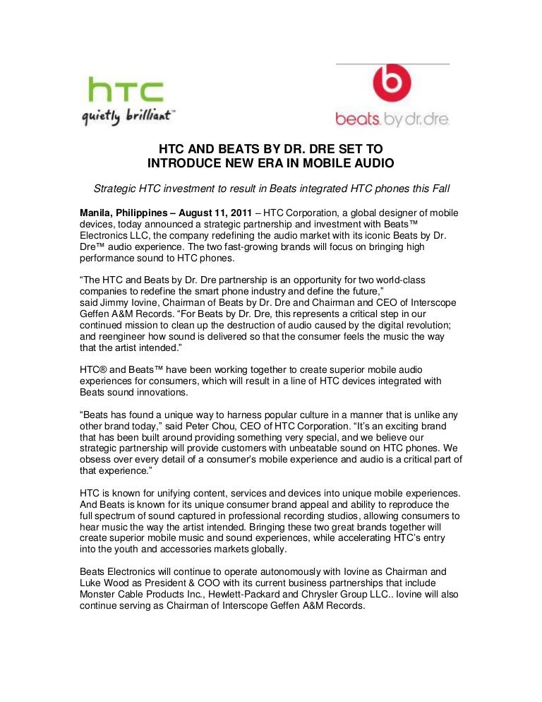 Htc and beats by dr  dre set to introduce new era in mobile