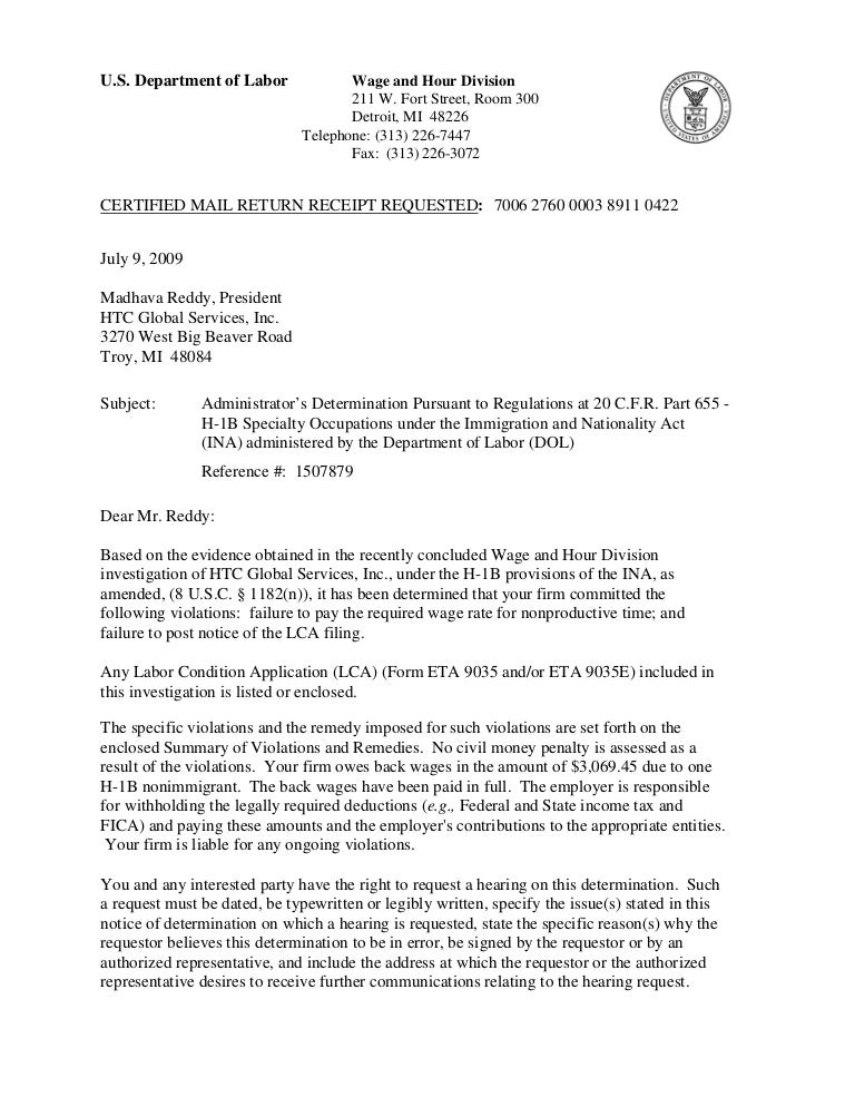 Htc Global Services Us Dol Determination Letter