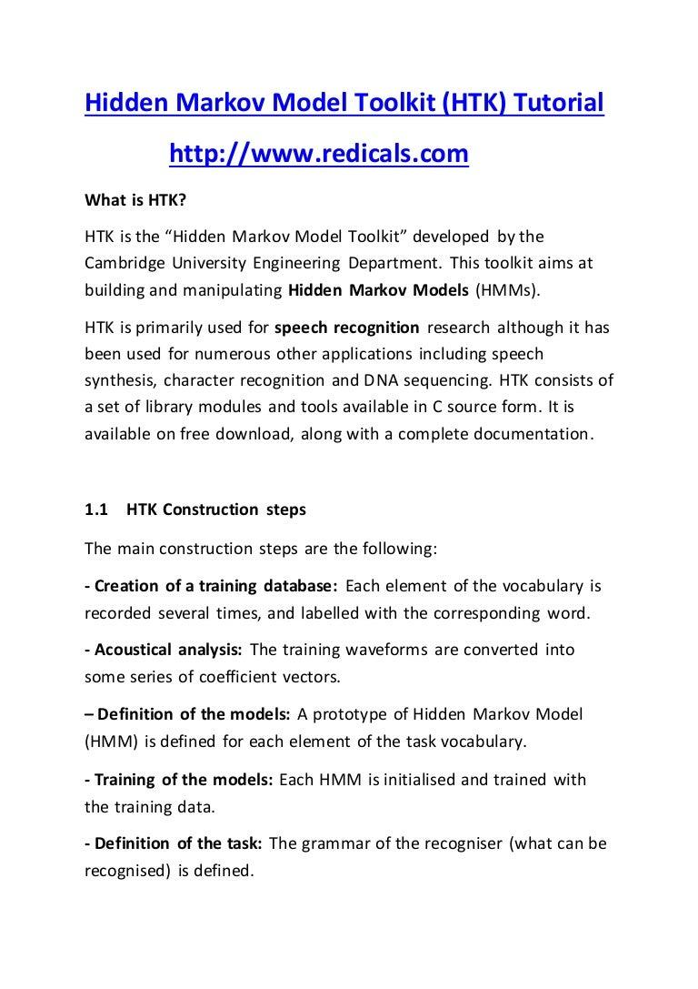 Hidden Markov Model Toolkit (HTK) www redicals com