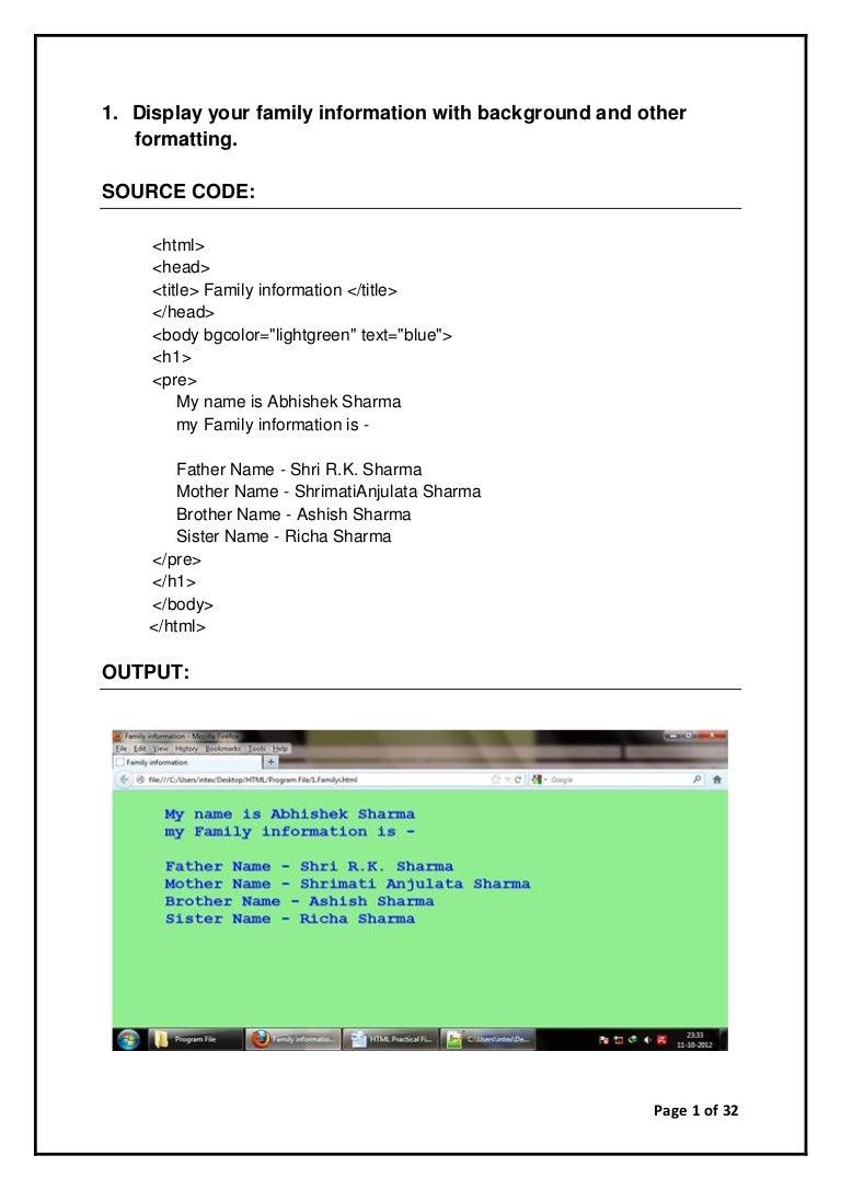 HTML practicals