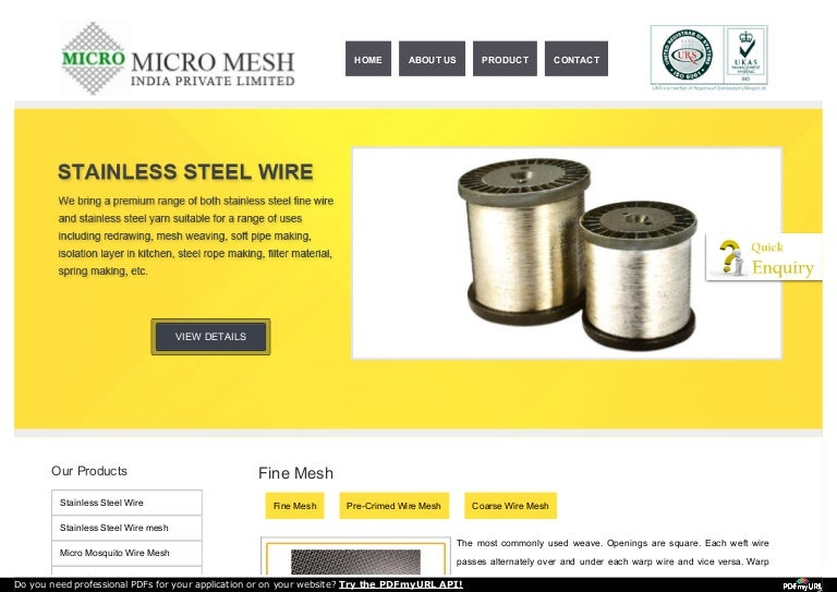 stainless steel wire mesh from micro mesh pvt
