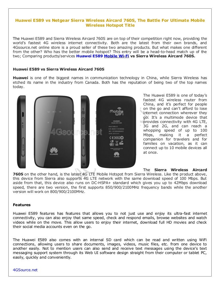 Huawei E589 vs Netgear Sierra Wireless Aircard 760S, The Battle For U…