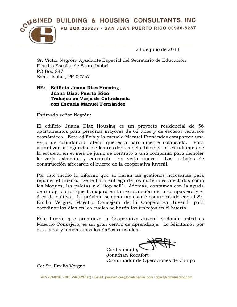Carta de la administración del Juana Díaz Housing for Elderly, sobre …
