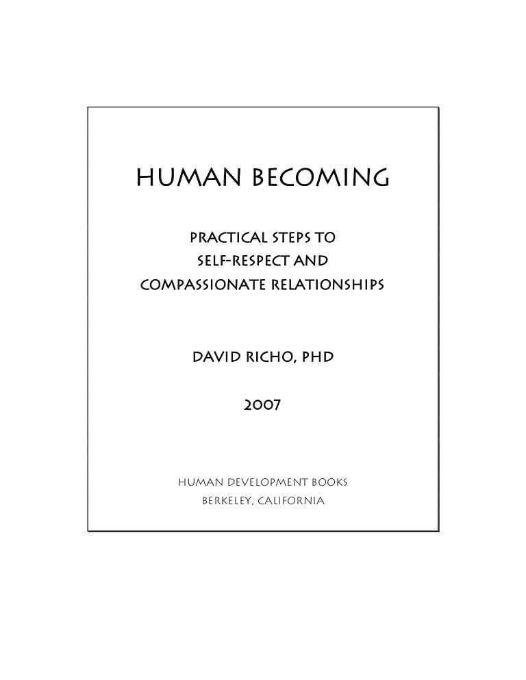 Human becoming book by david richo