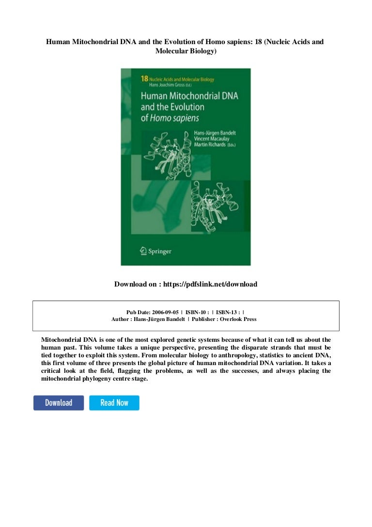 Human Mitochondrial DNA and the Evolution of Homo sapiens (Nucleic Acids and Molecular Biology, 18)