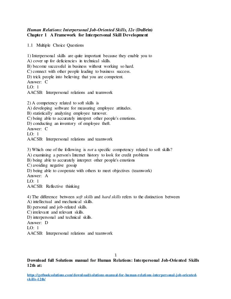 solutions manual for human relations interpersonal job oriented ski