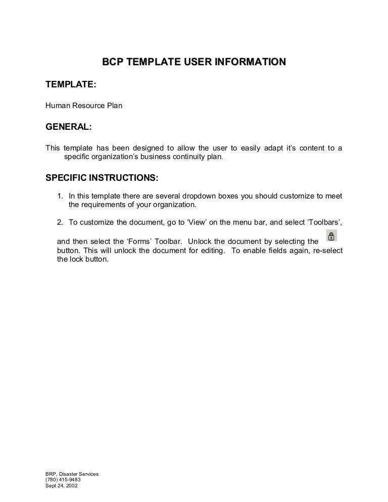 Human Resources Plan Template