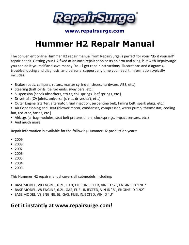 hummer h repair manual