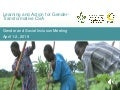 Learning and action for gender transformative CSA