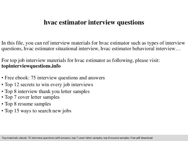hvac estimator interview questions. Resume Example. Resume CV Cover Letter