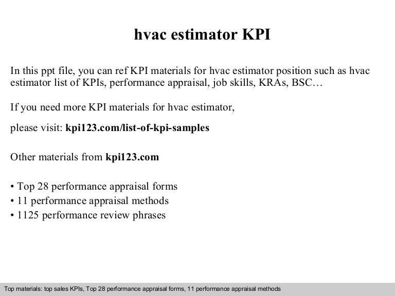 hvac estimator kpi