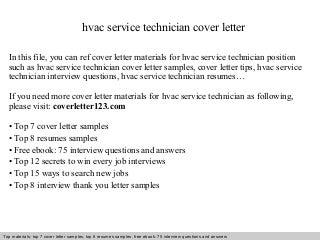hvac service technician cover letter - Service Technician Cover Letter