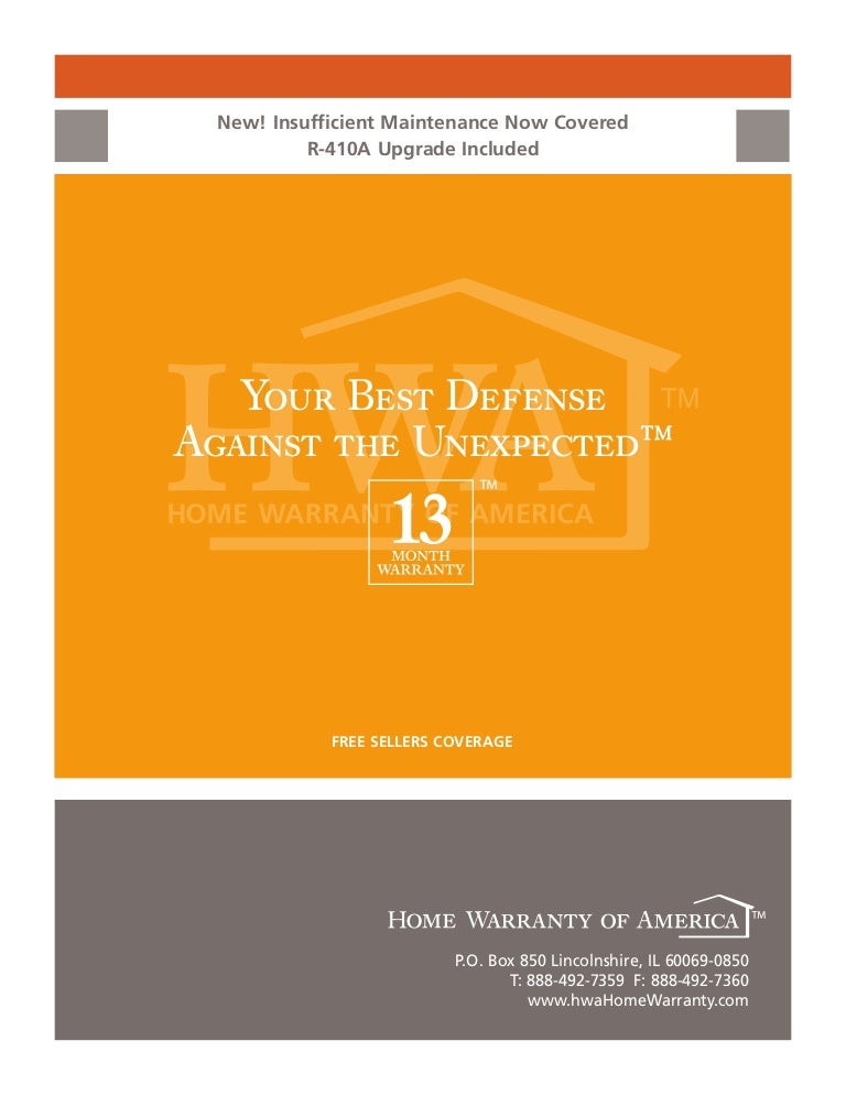 Home Warranty of America Booklet for Alabama
