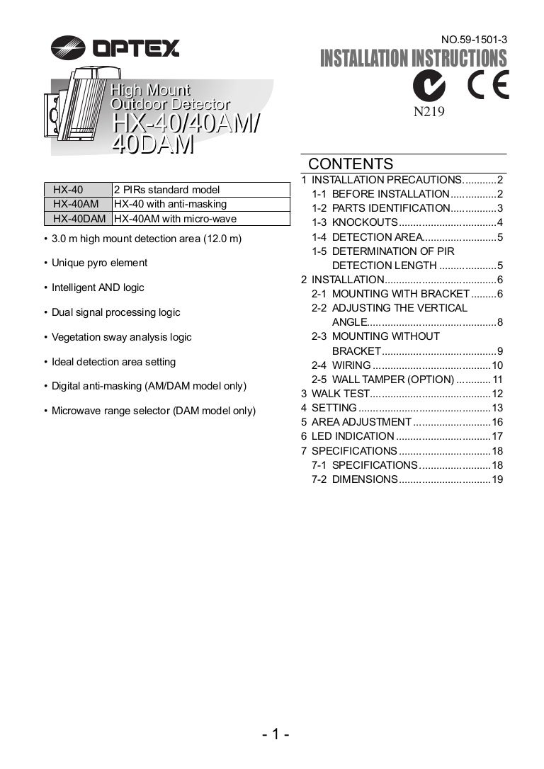Hx 40 Am 40dam Manual Enpdf Pir Sensor Wiring Instructions