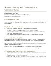111   Customer Value: How to Identify and Communicate Value for B2B Products