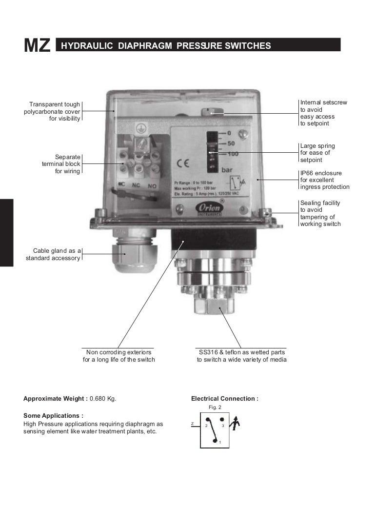 Hydraulic Range Diaphragm type Pressure Switches Mz Series
