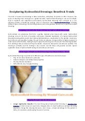 Hydrocolloid Dressings By Wound Care