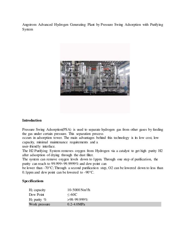 Angstrom Advanced Hydrogen generating plant by pressure