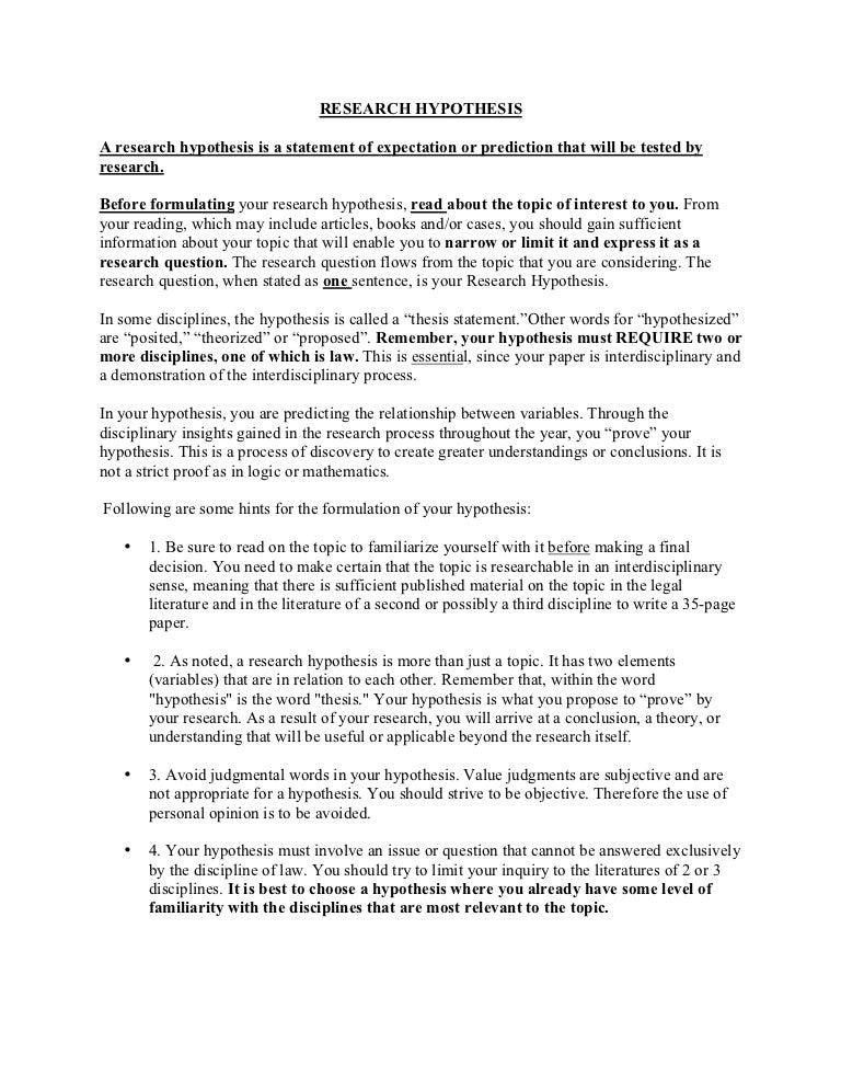 Dissertation test hypothesis